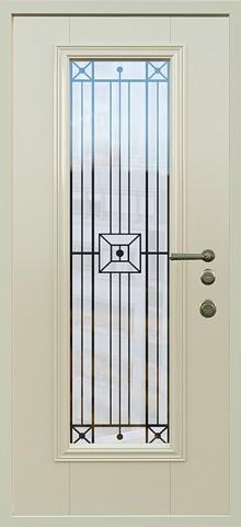 Дверь со стеклом и ковкой DR248