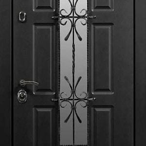 Дверь со стеклом и ковкой DR244