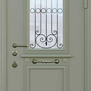 Дверь со стеклом и ковкой DR250