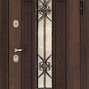 Дверь со стеклом и ковкой DR231